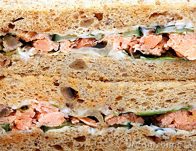 Healthy food,prawn and salmon salad sandwich on brown bread