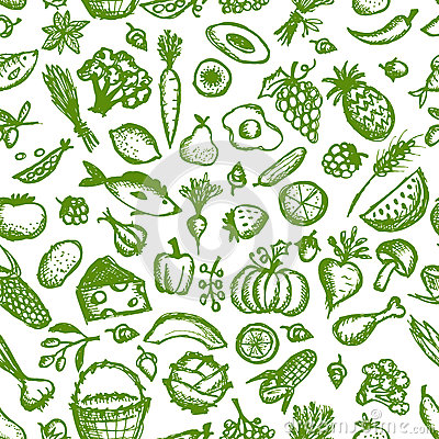 Free Healthy Food Seamless Pattern, Sketch For Your Stock Image - 32646391