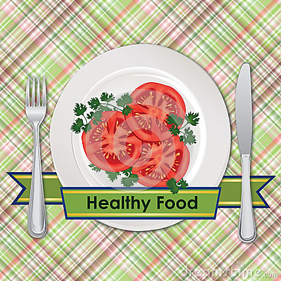 Free Healthy Food Sign. Tomato On Plate Over Seamless Checkered Tablecloth Pattern Royalty Free Stock Photos - 41564438