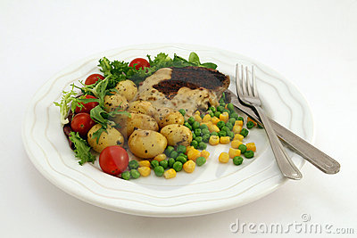 Healthy food, steak, potatoes and salad