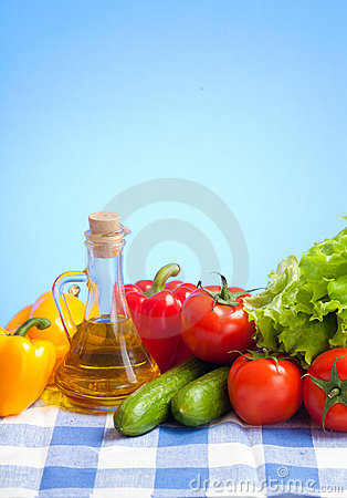 Healthy food still life on tablecloth