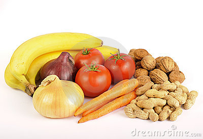 Healthy food, vegetables, fruit and nuts