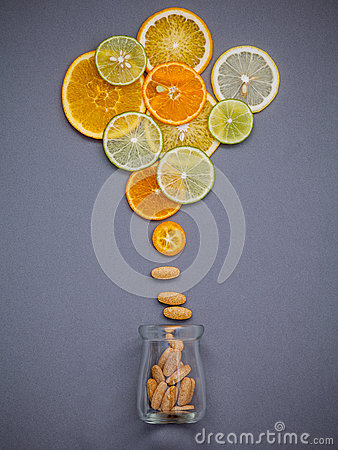 Free Healthy Foods And Medicine Concept. Bottle Of Vitamin C And Vari Stock Photography - 83199232