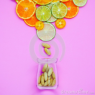 Free Healthy Foods And Medicine Concept. Bottle Of Vitamin C And Vari Royalty Free Stock Images - 83223169