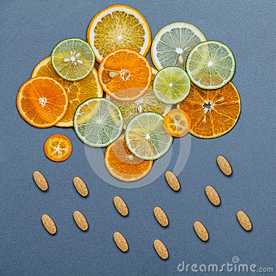 Free Healthy Foods And Medicine Concept. Pills Of Vitamin C  Stock Images - 93736144