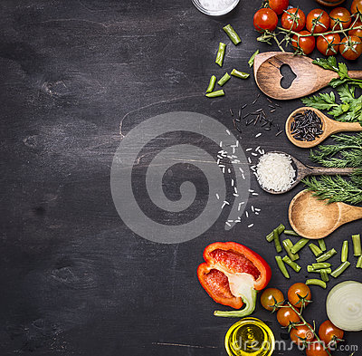 Free Healthy Foods, Cooking And Vegetarian Concept  Cherry Tomatoes, Wild Rice, Spices, Salt Border ,place Text  On Wooden Rustic B Stock Photography - 67535302