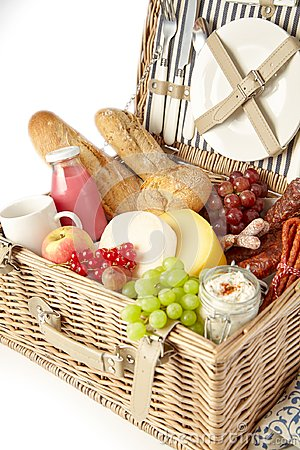 Free Healthy Fresh Fruit, Bread And Cheese In A Hamper Stock Photography - 120455382