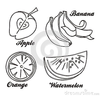 Healthy fruit hand draw