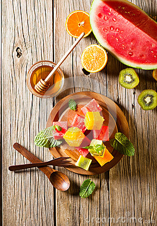 Free Healthy Fruit Mix Salad, Top View Stock Photography - 56357802