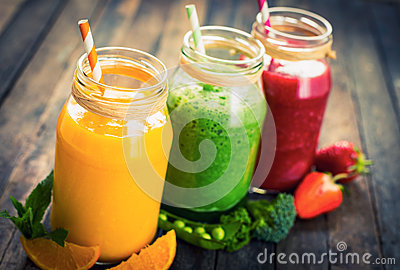 Healthy fruit and vegetable smoothies Stock Photo