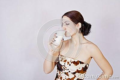 Healthy  girl drinking milk
