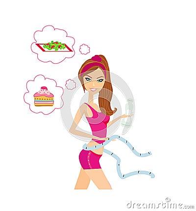 Healthy girl measuring her waist