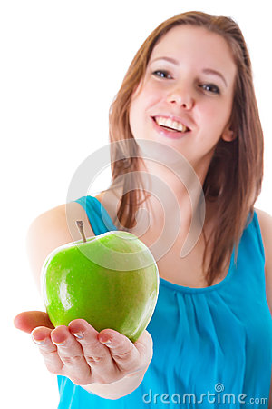 Healthy green apple on hand