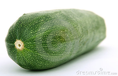 Healthy green courgette vegetable isolated on white