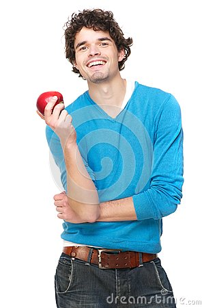 Healthy Guy with a Red Apple