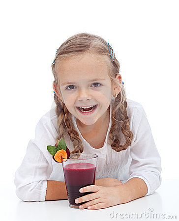 Healthy happy girl with fresh beetroot  juice