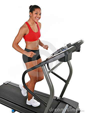 Healthy Happy Young Female Workout on Treadmill