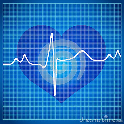 Healthy Heart cardiogram on blue background