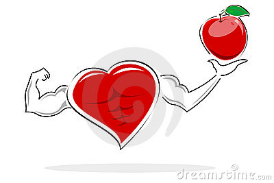Healthy heart holding apple