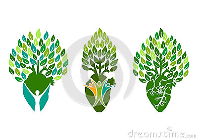 Healthy heart logo, tree people symbol, wellness heart concept design Vector Illustration