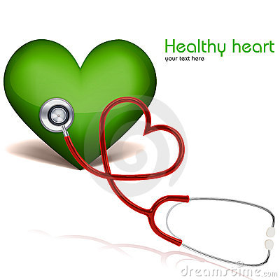 Healthy heart with stethoscope