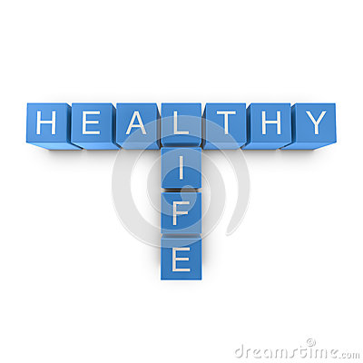 Healthy life 3D crossword on white background