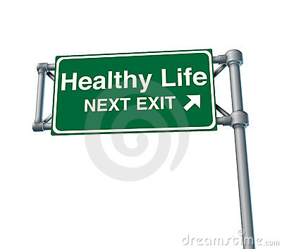 Healthy Life Freeway Exit Sign Highway Street Royalty Free Stock Image - Image: 18212486