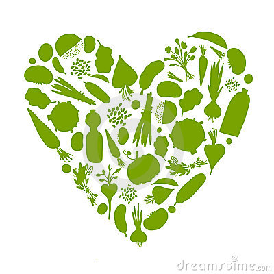 Free Healthy Life - Heart Shape With Vegetables Stock Images - 19384604