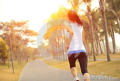 Healthy lifestyle asian woman running
