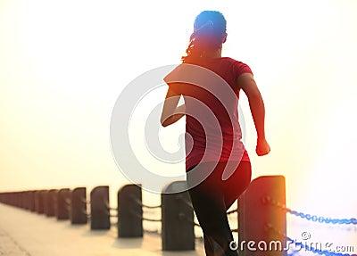 Healthy lifestyle beautiful asian woman running