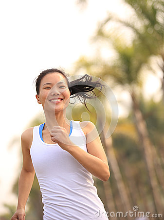Healthy lifestyle beautiful asian woman running