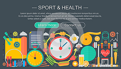 Healthy lifestyle concept with food and sport icons. Sport and fitness flat concept infographics header template design Vector Illustration