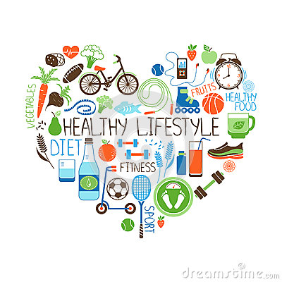 Healthy Lifestyle Diet and Fitness Heart sign Vector Illustration