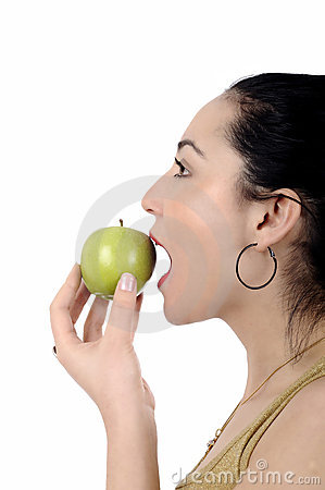 Free Healthy Lifestyle - Happy Woman Eating An Apple Royalty Free Stock Images - 18855829