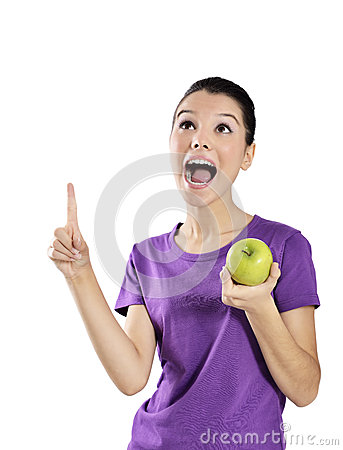 Free Healthy Lifestyle - Happy Woman Eating An Apple Royalty Free Stock Image - 34985626