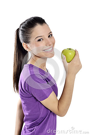 Free Healthy Lifestyle - Happy Woman Eating An Apple Stock Photography - 34985842