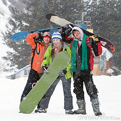 Free Healthy Lifestyle Image Of Snowboarders Team Stock Image - 10962871