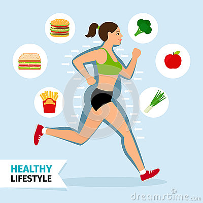 Healthy lifestyle running woman Vector Illustration