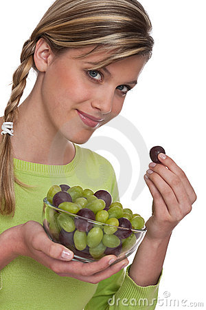 Healthy lifestyle series - Woman holding grapes