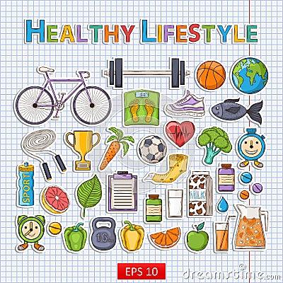 Free Healthy Lifestyle Sticker Set Stock Photos - 54142173