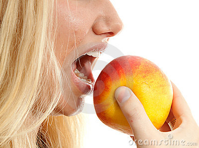 Healthy lifestyle, woman eating apple