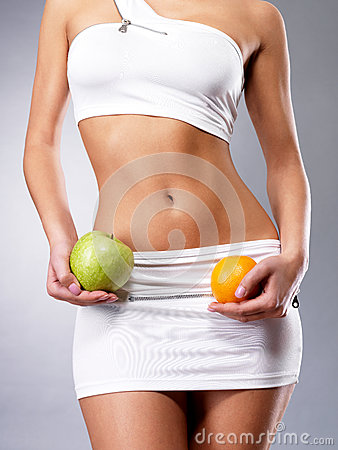 Healthy lifestyle of woman with slim body