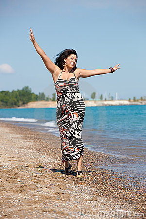 Healthy Looking Plus Size Model Walking