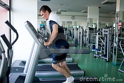 Healthy man a treadmill