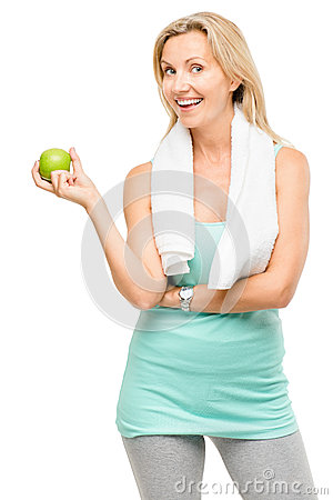 Free Healthy Mature Woman Exercise Green Apple Isolated On White Back Stock Photos - 31639723