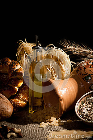 Healthy  meal with bread , cereals