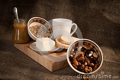 Healthy  meal with bread milk and cereals