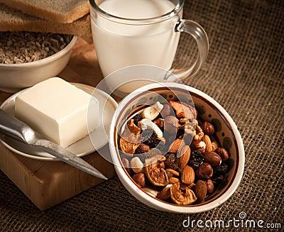 Healthy  meal .bread,milk and cereals
