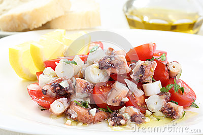Healthy octopus salad- traditional dish from Portugal