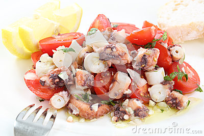Healthy octopus salad- traditional dish from Portu